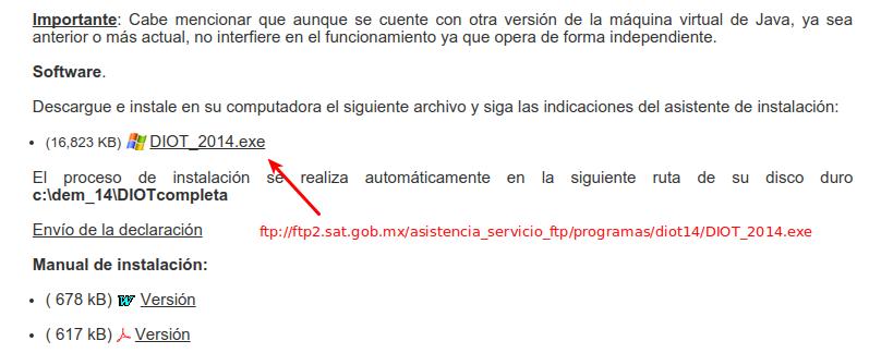 Página del SAT oficial para descargar el programa DIOT
