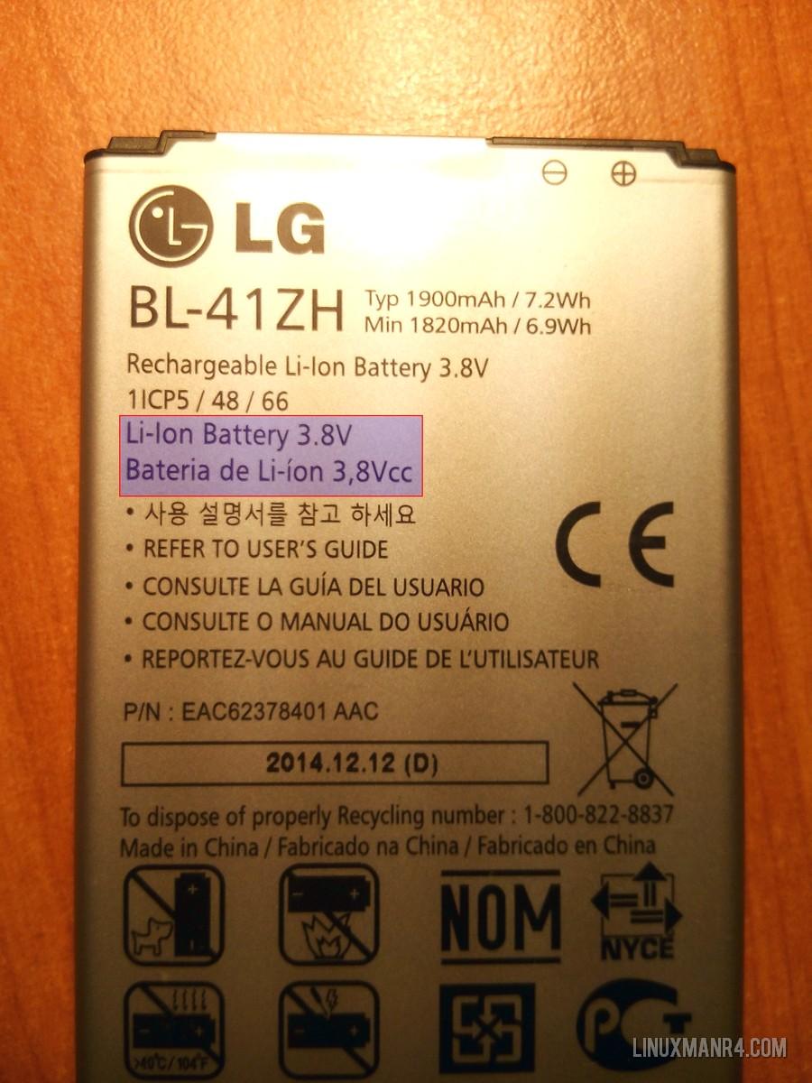 Batería de ion litio 3.8 voltios