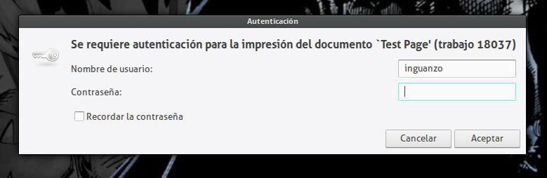 Se requiere autenticación para la impresión del documento