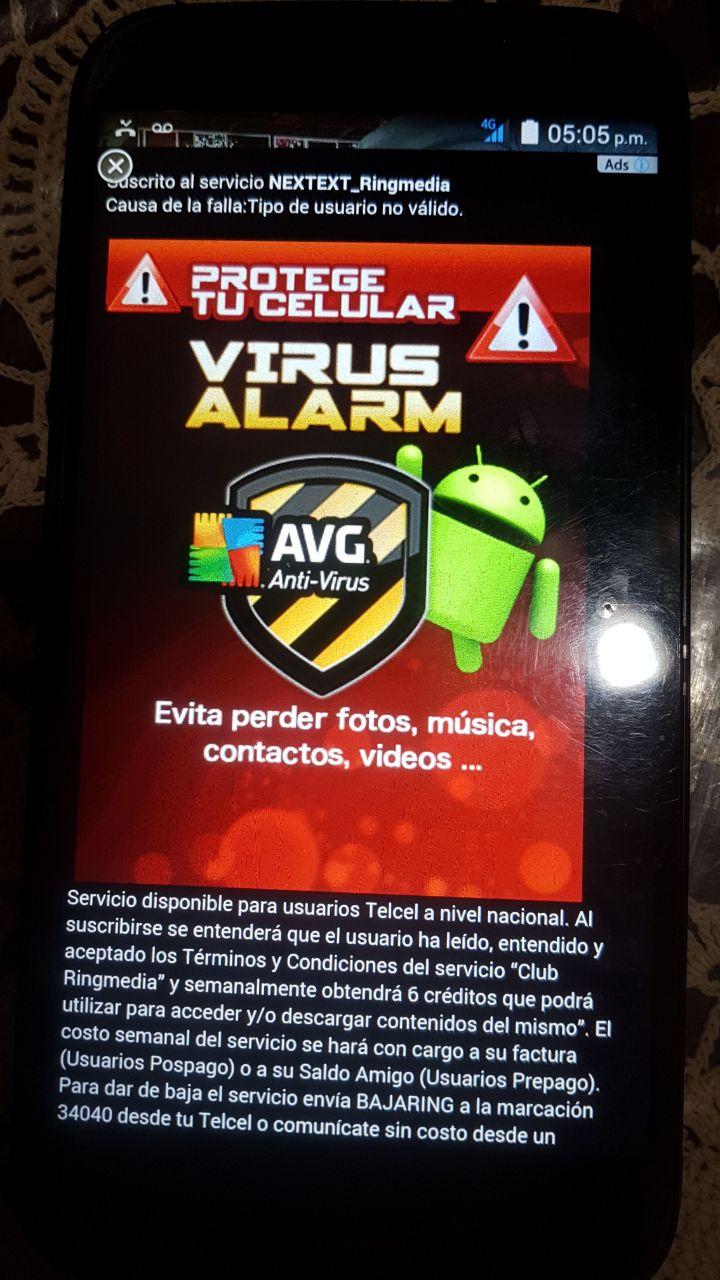 publicidad con anuncio de antivirus
