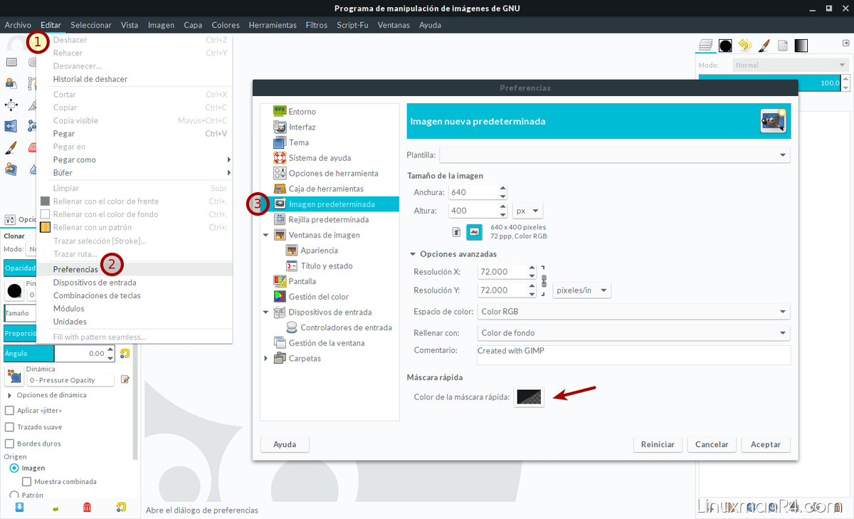 Opciones de máscara rápida en GIMP