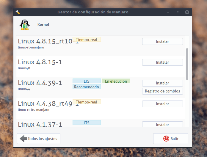 kernel 4.4 en Manjaro settings manager