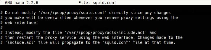 Comentario en el archivo squid.conf