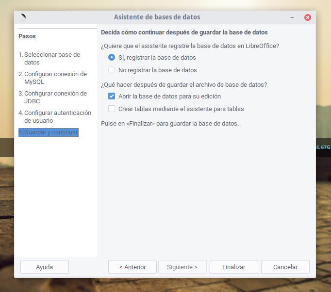 Registrar la base de datos en LibreOffice