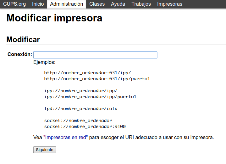 Modificar impresora en CUPS