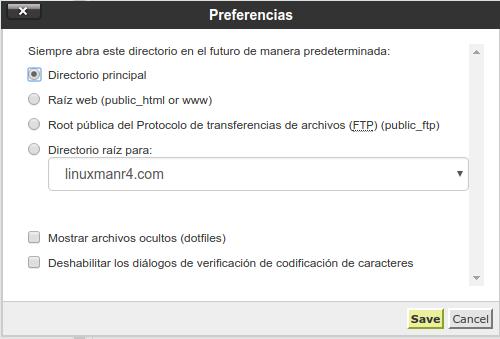 Preferencias del administrador de archivos