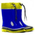 botitas de hule azules con suela amarilla