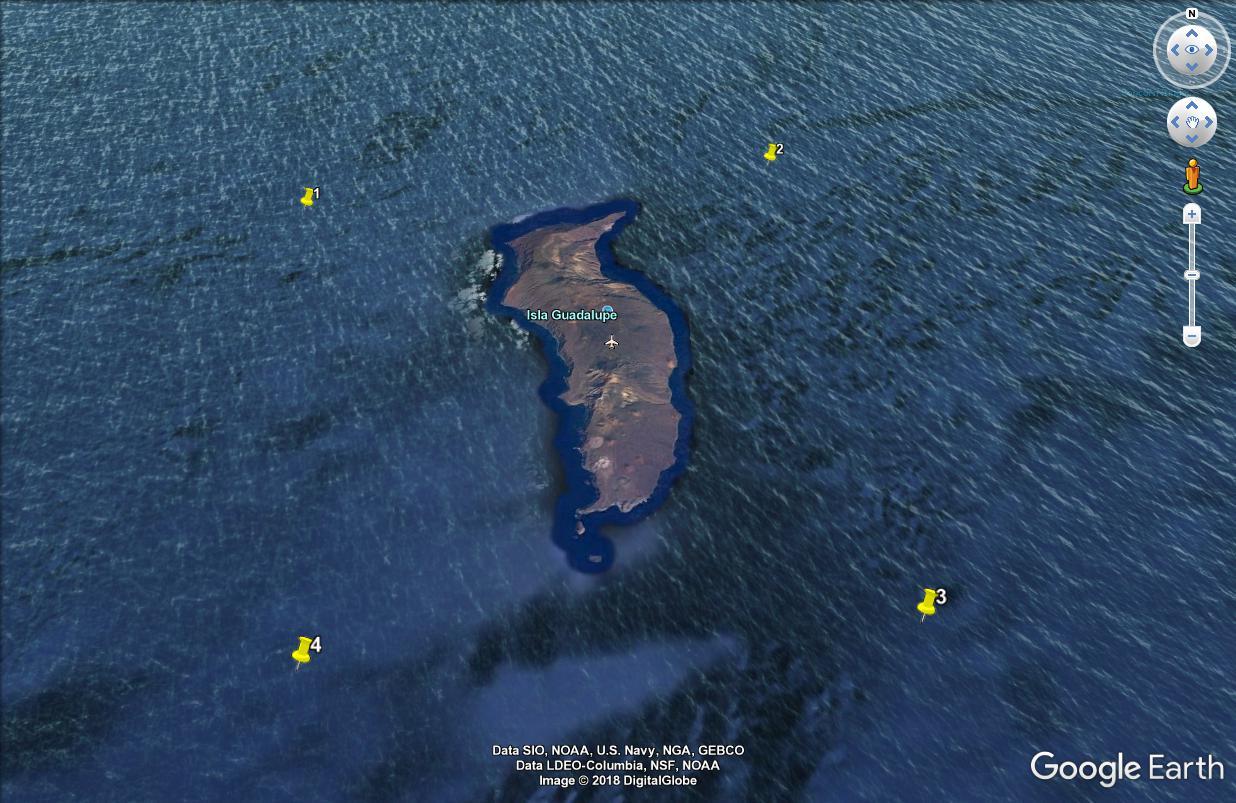 Los 4 puntos ahora se pueden ver en Google Earth.