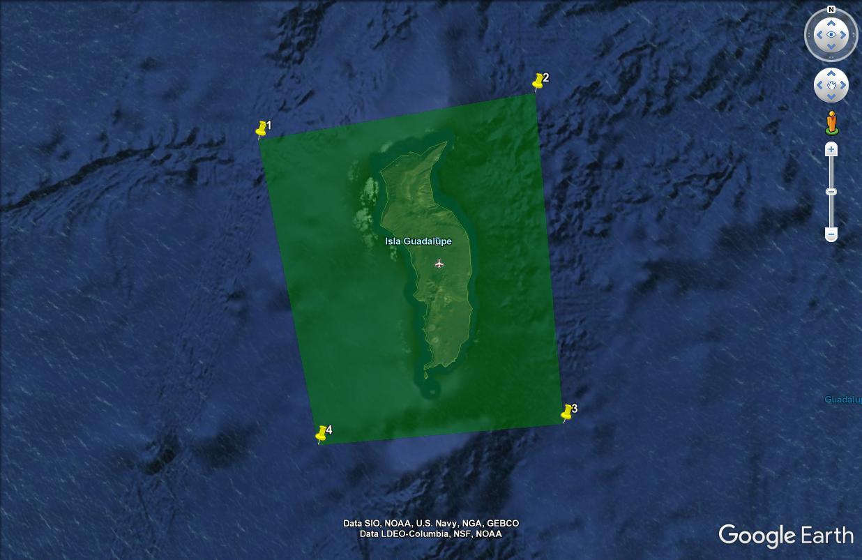 Linear Ring conecta el perímetro de los 4 puntos y lo muestra en Google Earth.