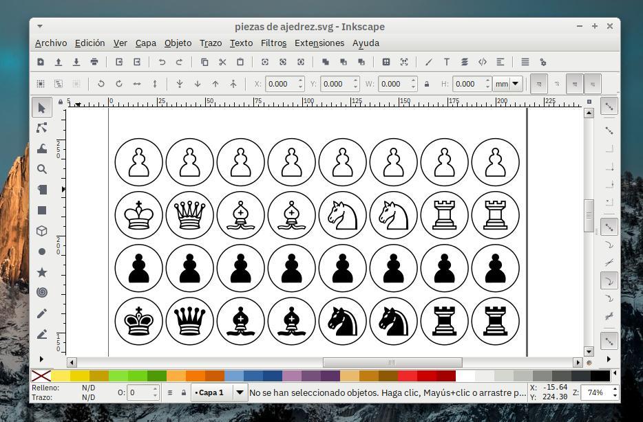 Diseño de las piezas con Inkscape.