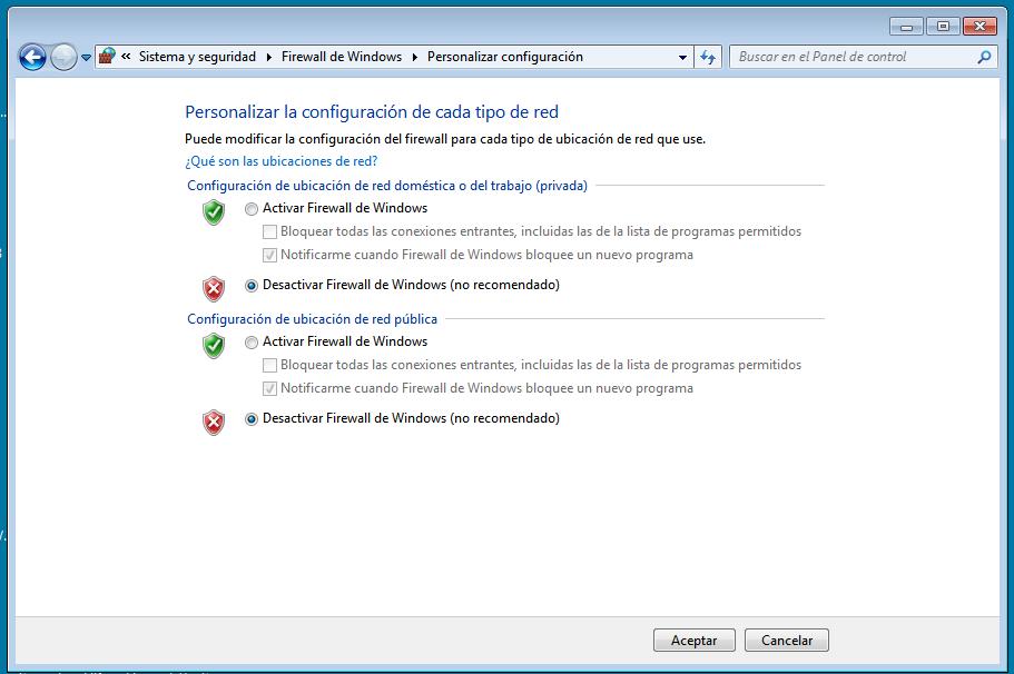 Firewall desactivado - No se encontró el candado Microsip.