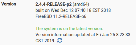 actualizar a la versión más reciente de pfsense.