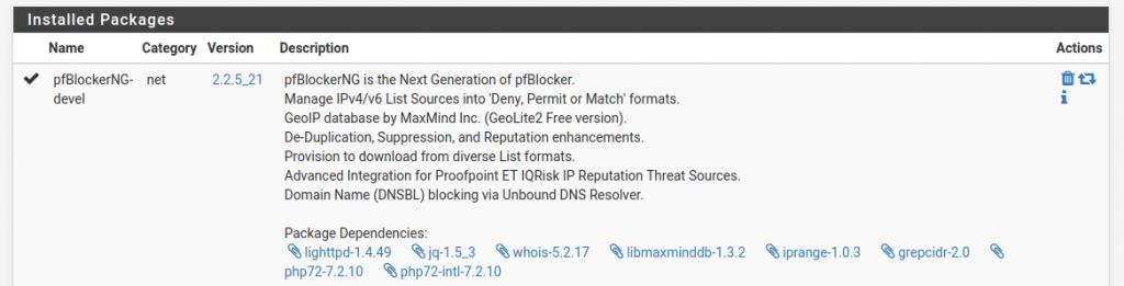 El paquete se llama pfBlockerNG-devel.