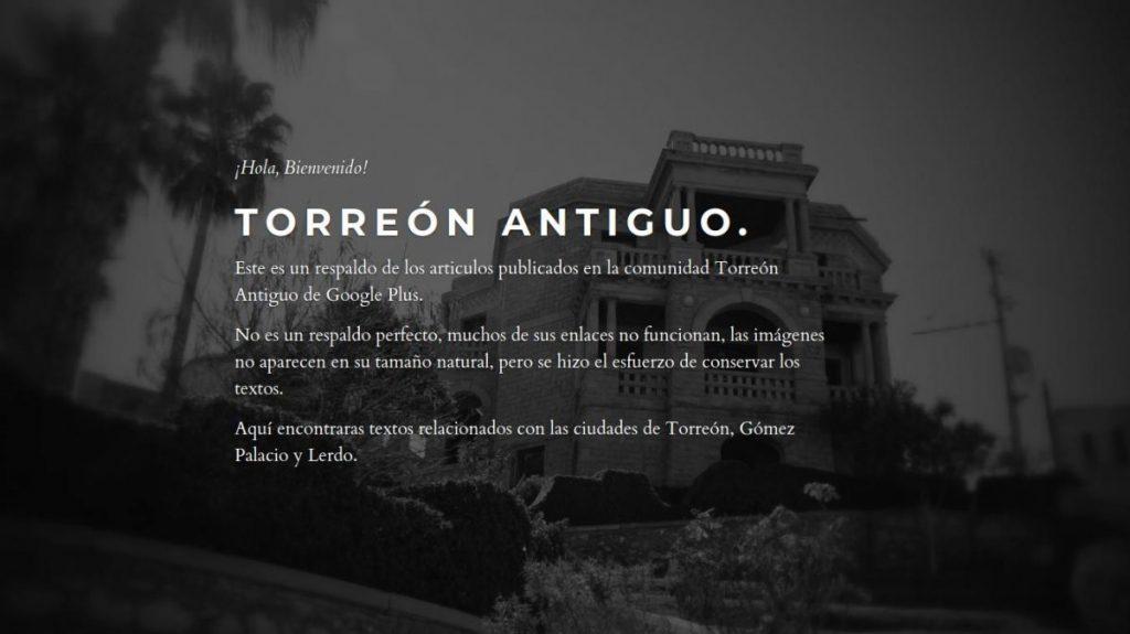 La portada de la página de Torreón Antiguo.