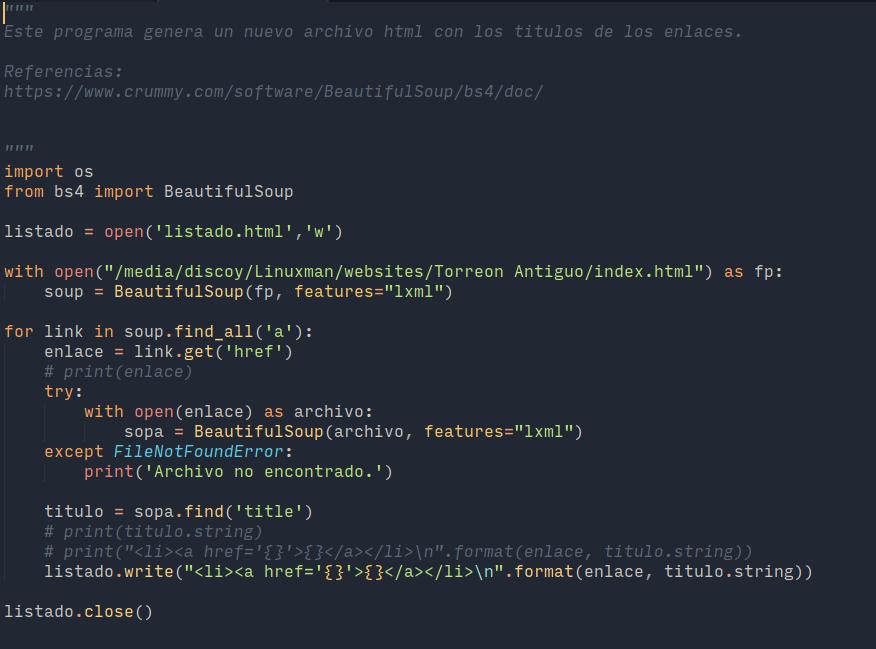 El código en Python que logró mejorar la descripción de los enlaces.