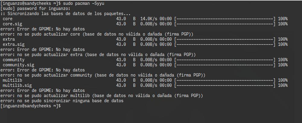 Error GPGME: No hay datos.