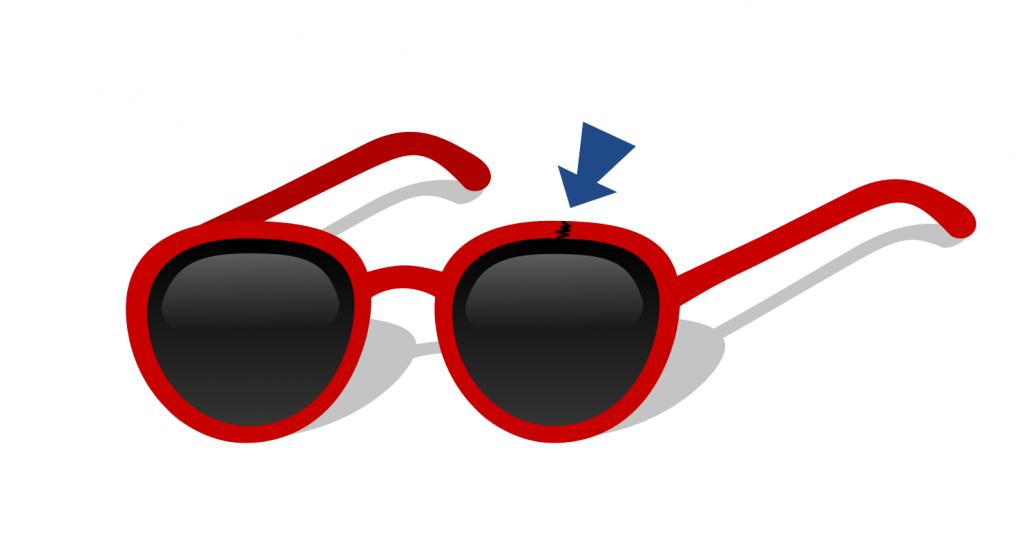 Un punto frecuente de ruptura son los marcos de los lentes.