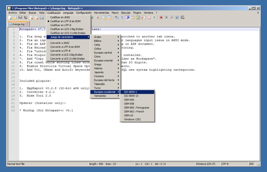 Notepad++ mostrando las opciones de codificación.
