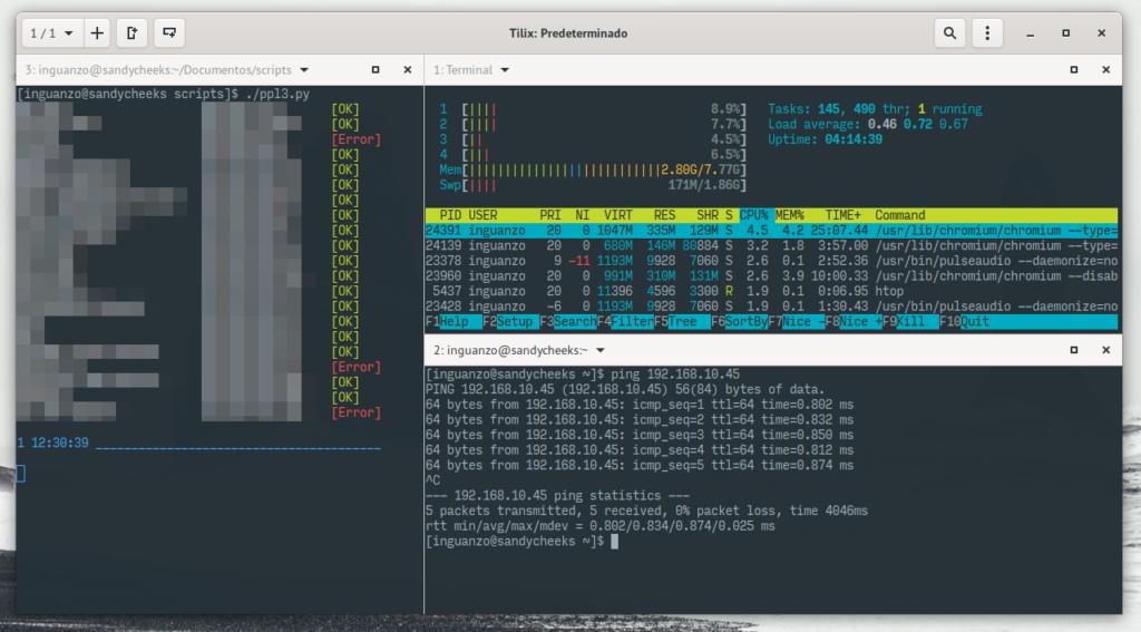 Tilix con su mosaico de terminales.