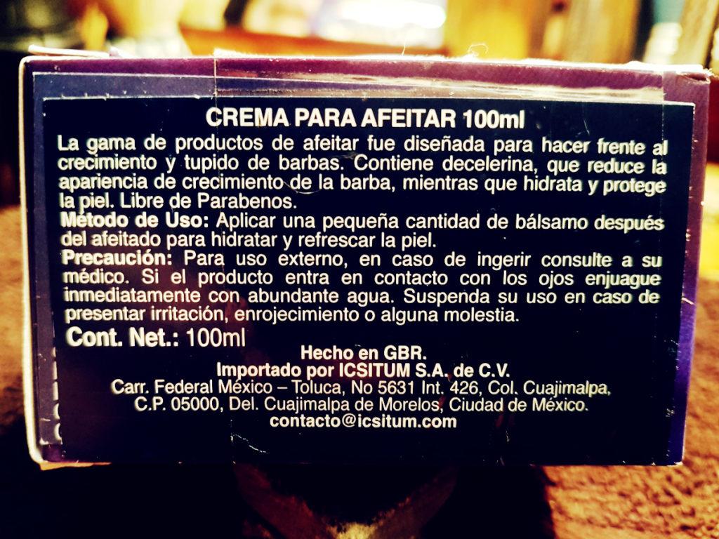 Etiqueta de la crema para afeitar