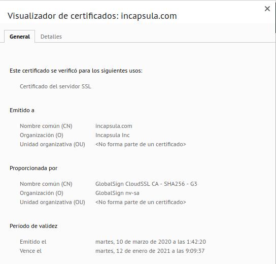 Información de los nuevos certificados.